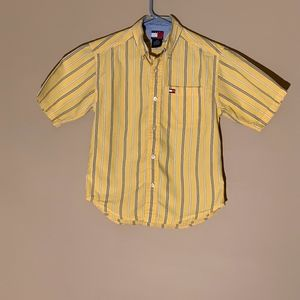 Tommy Hilfiger Boy's Shirt Small Yellow w/ stripes
